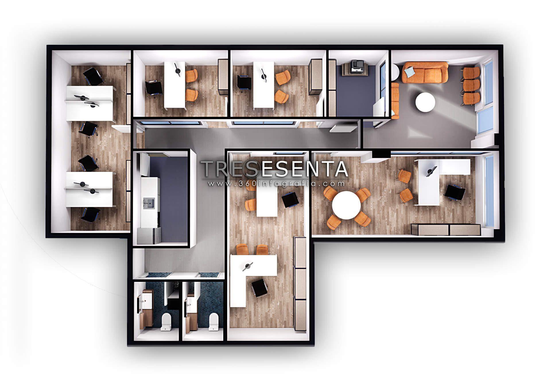 Plano comercial 3d. www.360infografia.com