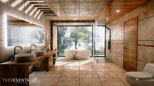 Imagen interior de cuarto de baño de diseño