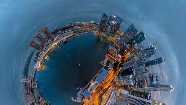Vista 360 grados de fotografía aerea
