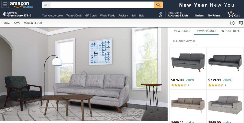 Captura de pantalla de amazon showroom. Diseño y decoración virtual 3d